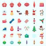 Färgrik illustration för plan för jul för nytt år för xmas för symboler vektor för illustration i plan stil Fotografering för Bildbyråer