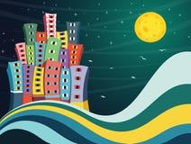 Färgrik illustration för stadsnattvektor stock illustrationer