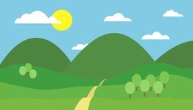 Färgrik illustration för tecknad film av berglandskapet med kullen, banan och träd under blå himmel med moln och solen Arkivbild