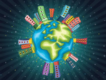 Färgrik illustration för världsnattvektor vektor illustrationer