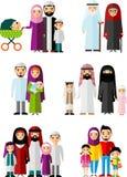 Färgrik illustration för vektor av den arabiska familjen i nationell kläder Arkivfoto