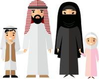 Färgrik illustration för vektor av den arabiska familjen i nationell kläder stock illustrationer