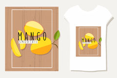 Färgrik illustration för vektor av mangoskivor i plan designstyl Arkivbild