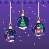 Färgrik illustration för vektor i plan boll för nytt år för stilXmas Royaltyfri Bild