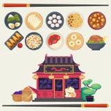 Färgrik illustration för vektor i plan stil med olika typer av den asiatCuisinefor menyn och livsmedelsbutiken för traditionell k Arkivbilder