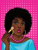 Färgrik illustration i stil för popkonst av den härliga afrikansk amerikanflickan som gör makeup vektor illustrationer