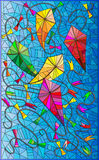 Färgrik illustration med drakar i himlen, målat glassstil Arkivbilder
