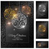 Färgrik illustration med julpynt - silver och guld- bollar Arkivbild