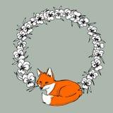 Färgrik illustration med räven Arkivbild