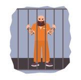 Färgrik illustration som presenterar den manliga fången under för maninnehav för gripande den ilskna cellen för järn Plan vektori Arkivbilder