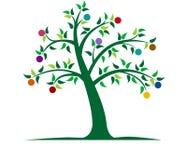 färgrik illustrationtree stock illustrationer
