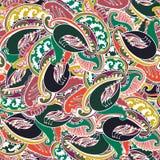 Färgrik indisk paisley seamless bakgrund Fotografering för Bildbyråer