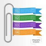 Färgrik infographic mall för vektor med paperclipen och band stock illustrationer