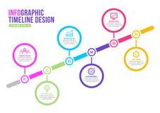 Färgrik infographic vektor för design för affärsmarknadsföringsorientering, presentationsmall stock illustrationer