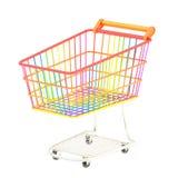 Färgrik isolerad shoppingvagn Arkivbild