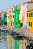 färgrik italy för burano town Arkivbilder