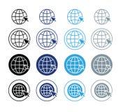 Färgrik jordklotsymbol med pekaren, vektor Arkivbild