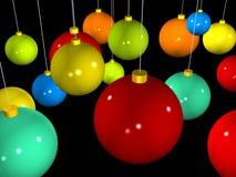 färgrik jul för bollar 3d Royaltyfri Bild