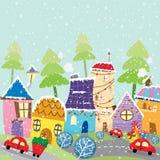 Färgrik julstad vektor illustrationer