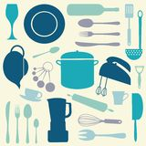 Färgrik kökuppsättning Arkivfoto