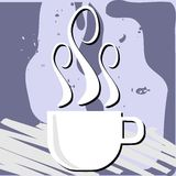 Färgrik kaffebakgrund med koppen Fotografering för Bildbyråer