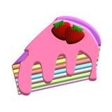Färgrik kaka och jordgubbe Royaltyfri Fotografi