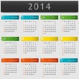 Färgrik kalender 2014 år Arkivbilder