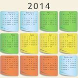 Färgrik kalender 2014 år Royaltyfri Bild