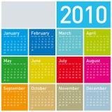 färgrik kalender 2010 royaltyfri illustrationer
