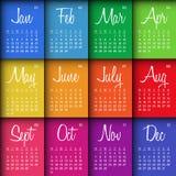 Färgrik kalender 2016 vektor illustrationer