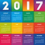 Färgrik kalender 2017 royaltyfri illustrationer