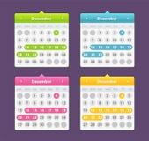 Färgrik kalender för år som 2018 isoleras på en mörk bakgrund vektor illustrationer