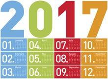 Färgrik kalender för året 2017 Arkivbild