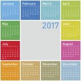Färgrik kalender för året 2017 Fotografering för Bildbyråer
