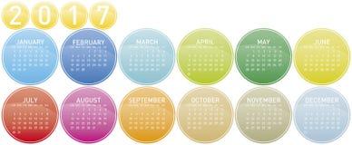 Färgrik kalender för året 2017 Arkivfoto