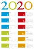 Färgrik kalender för året 2020 i vektorformat Royaltyfria Foton