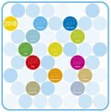 Färgrik kalender för året 2018 som är på engelska Royaltyfri Foto
