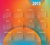 Färgrik kalender för 2013 år i spanjor Arkivbild