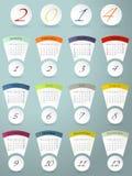 Färgrik kalenderdesign för 2014 Arkivfoto