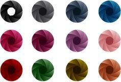 Färgrik kameraslutare på den vita bakgrundsvektorn Stock Illustrationer