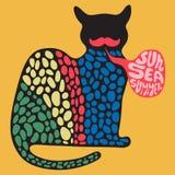 Färgrik katt med banret för solhavssommar Royaltyfri Foto
