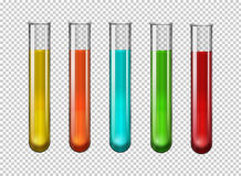 Färgrik kemikalie i provrör stock illustrationer