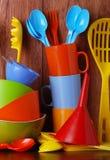 Färgrik kitchenware Royaltyfri Foto