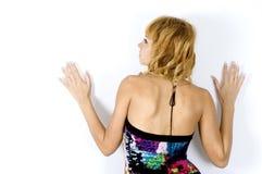 färgrik klänningflickakind arkivfoto