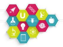 Färgrik klistermärke, etikett eller etikett för vetenskap Royaltyfri Bild