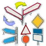 Färgrik klistermärke, uppsättning av tomma pekare, pilar och vägmärken Arkivbilder