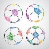 färgrik klotterfotboll för boll vektor illustrationer