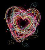färgrik klotterhjärta Royaltyfria Bilder
