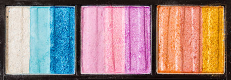 Färgrik kosmetisk palettuppsättning Fotografering för Bildbyråer