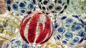 Färgrik kristallkula med belysningbakgrund royaltyfri foto